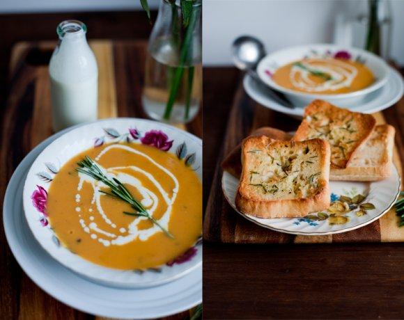 Soupe d'Automne / Patate douce & crème et croutons au romarin