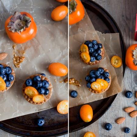 Petite tarte Kumquat-Bleuet & purée de kakis vanillée