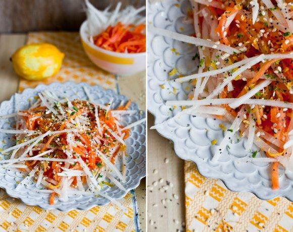 Salade de Daikon, Papaye & zeste de citron