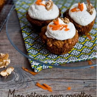 Des minis gâteaux aux carottes .