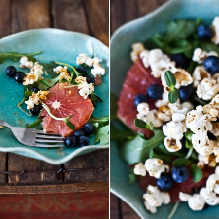 Salade de PopCorn épicé, Bleuets frais & Pamplemousse.