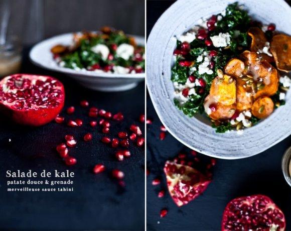 Detox // Salade de Kale, Patate douce & Grenade à la sauce Tahini