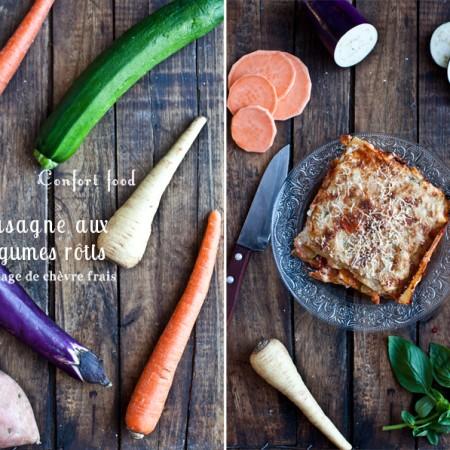 Confort food coloré // Lasagne de légumes rôtis & fromage de chèvre frais