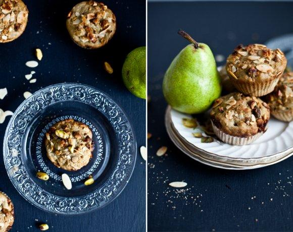 Muffins aux poires & Matcha avec crumble pistache et amande