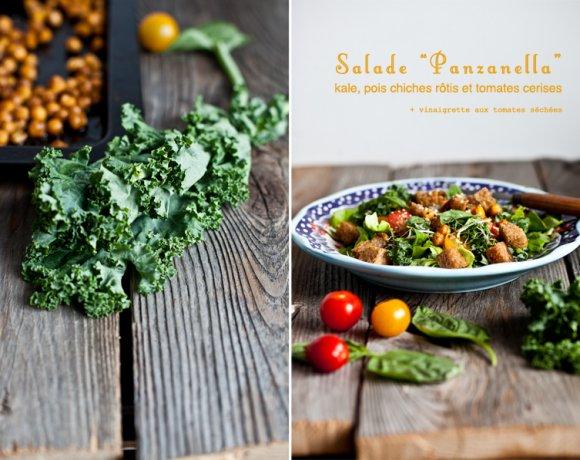 Salade façon «Panzanella» au kale, pois chiches rôtis aux épices et tomates cerises.
