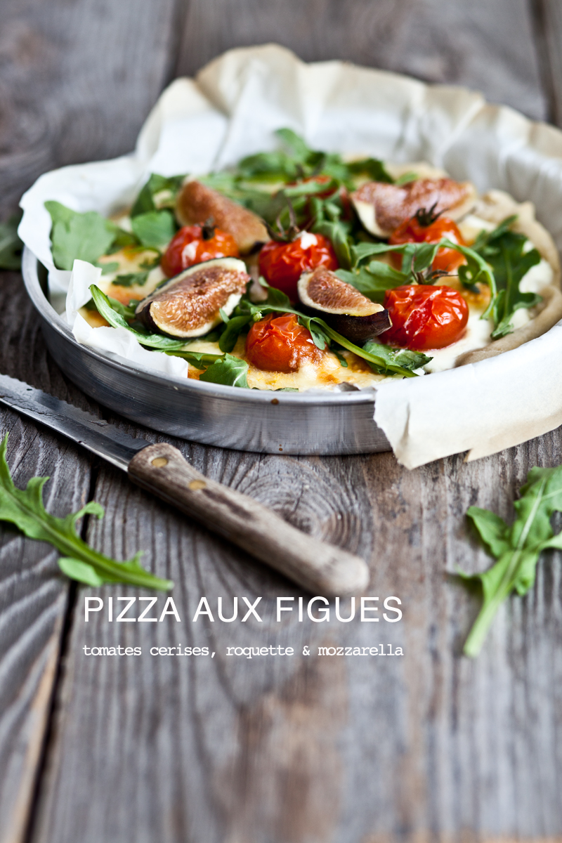 pizza aux figues tomates cerises mozzarella roquette. Black Bedroom Furniture Sets. Home Design Ideas