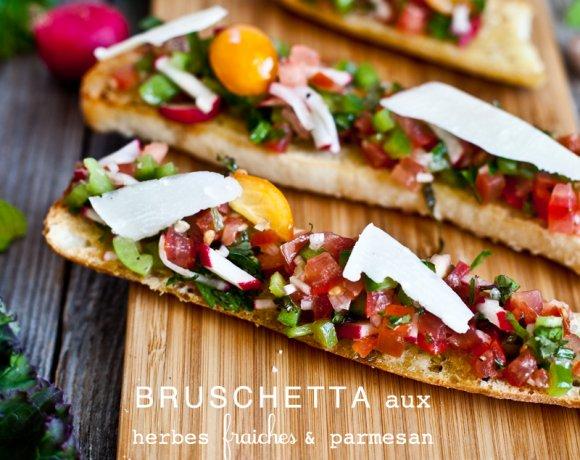 Bruschetta aux herbes fraiches & parmesan