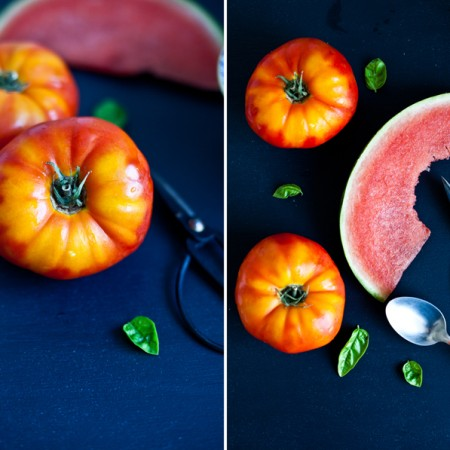 Été // Gaspacho aux tomates, melon d'eau & basilic