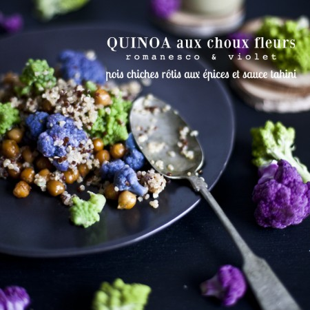 Quinoa aux Choux Fleurs & Pois chiches rôtis aux épices et sauce tahini