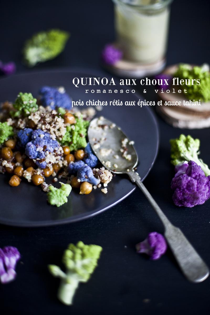 Quinoa Aux Choux Fleurs Pois Chiches Rotis Aux Epices Et Sauce Tahini