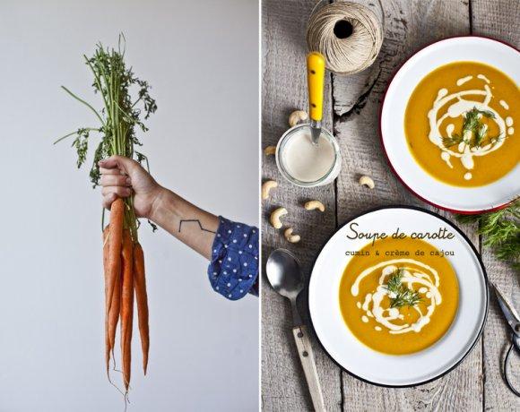Soupe de carotte, cumin & crème de cajou