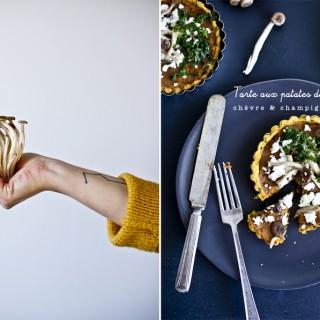 Beaux mots de 2015 et Tarte aux patates douces, chèvre & champignons