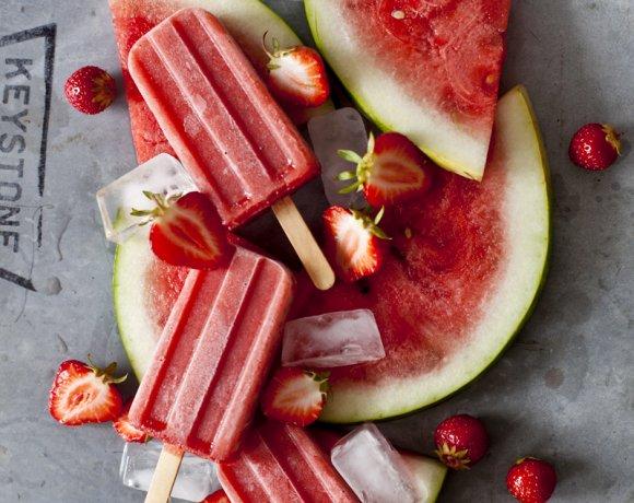 Popsicles fraise & melon d'eau