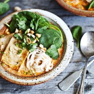 Soupe Thaï au lait de coco, shiitake et tofu