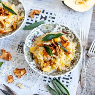 Risotto à la courge butternut, sauge et champignon