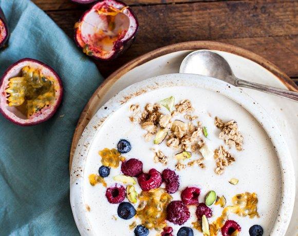 Smoothie bananes, yogourt et fruit de la passion (lecture & liens de la semaine)