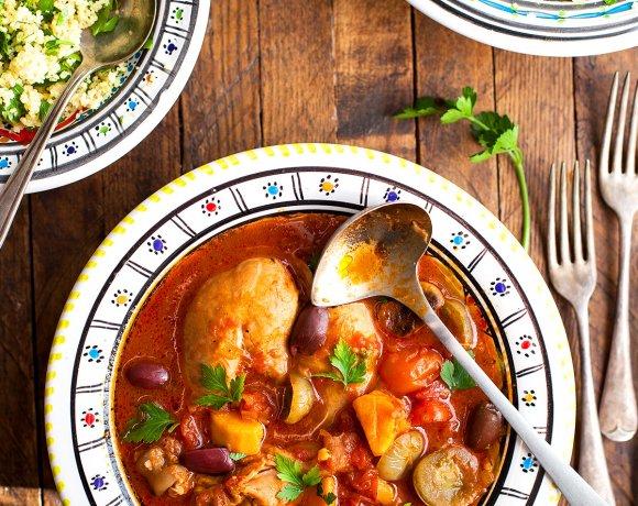 Pilons de poulet à la marocaine, patate douce, olive et couscous