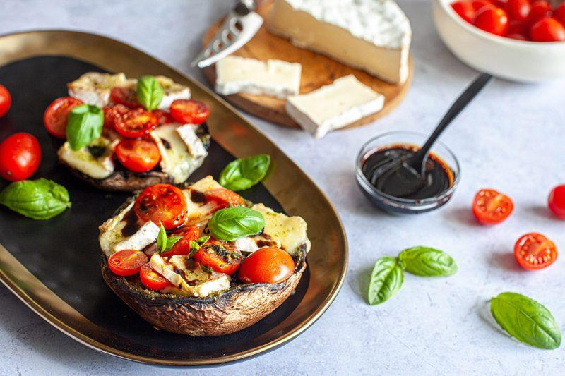 Portobello farci au brie, tomate et balsamique